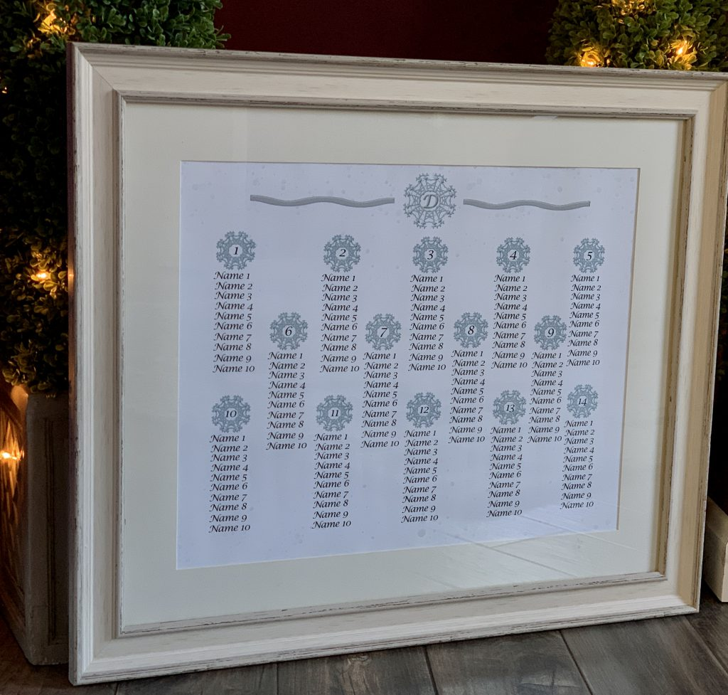 Winter Wedding Themed Seating Chart