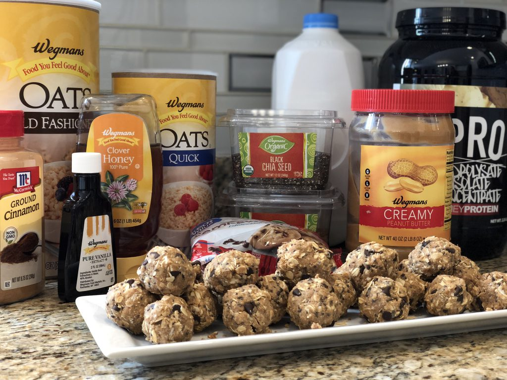 Chocolate Chip Peanut Butter Protein Balls. A Great Pre and Post Workout Snack!