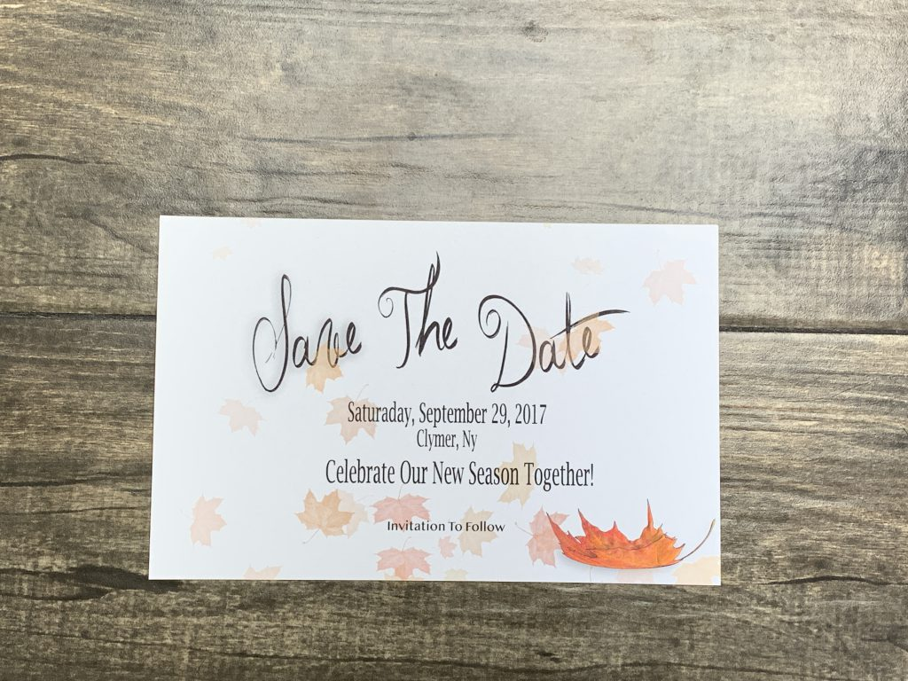 Fall Wedding Themed Save The Date Card