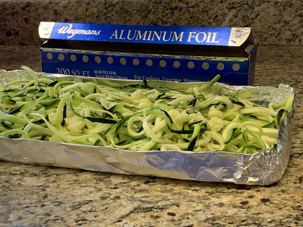 Grilling Zucchini Noodles in Tin Foil