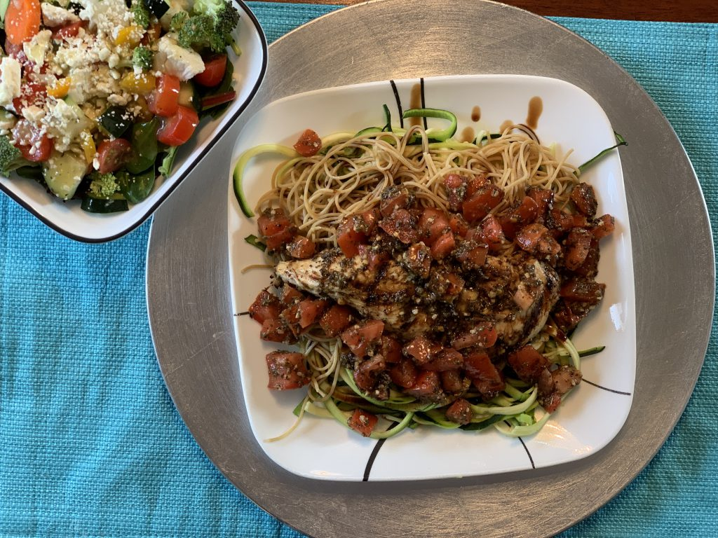 Grilled Chicken Bruschetta With Grilled Zucchini Noodles