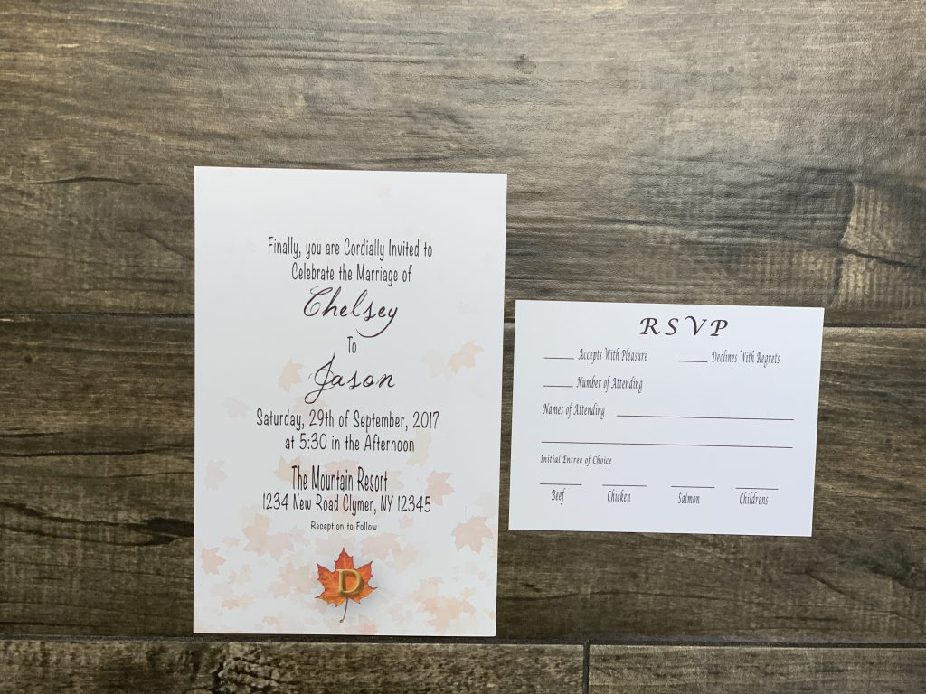 Fall Wedding Themed Invitation and RSVP Card