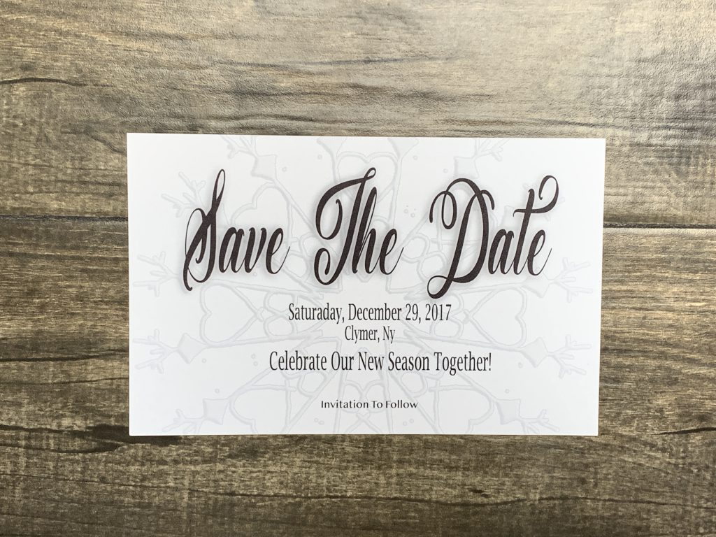 Winter Wedding Invitation Set: Save The Date Card