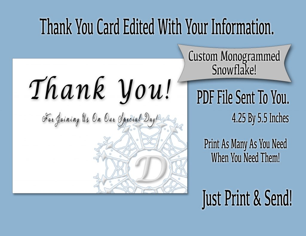 Winter Wedding Themed Invitation Set: Thank You Card
